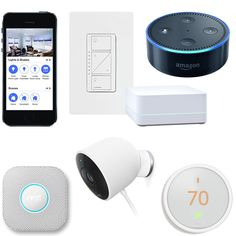Smart Home Starter with professional installation and 5yr parts warranty  Features automated control and monitoring for the following: One Smart Dimmer For Lighting Control ​One Nest Learning Thermostat​ ​One Nest Cam Outdoor Camera ​​One Nest Protect Smoke / CO Detector ​​One Amazon Alexa Dot ​​One App Controls and monitors all devices