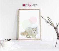 Bubble White Snowfox Printable DIY Home Poster Print / illustration Nursery, Baby, child cute, Animal wall decor Instant Digital Download