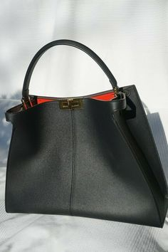 87ef396bb786 Black leather handbag Fendi Peekaboo X-Lite  fashion  clothing  shoes   accessories