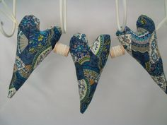 fabric heart garland petrol blue fan fabric by fingerprickinggood, £8.00