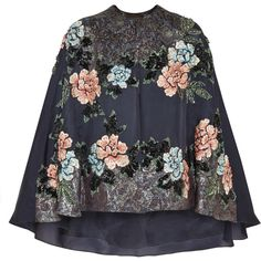 Cana embellished embroidered silk-blend organza cape (€975) ❤ liked on Polyvore featuring outerwear, coats, cape, jackets, tops, embroidered cape, cape coat, biyan and embellished cape