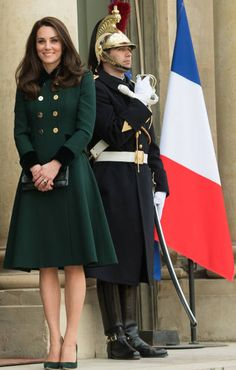 Catherine Duchess of Cambridge meets with President Francois Hollande at The Elysee Palace on March 17 2017 in Paris France The Duke and Duchess are...