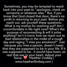 Don't let an emotional moment take you back to an emotionally unhealthy relationship! Great wisdom by @HeatherLLove pic.twitter.com/Pq3Uw7pvPz
