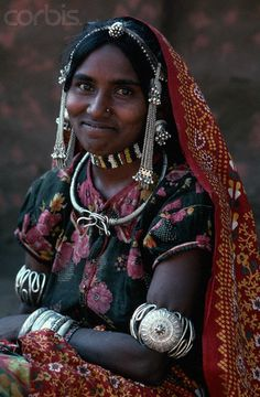 Bhil Woman in Traditional Dress. Jhabua, India
