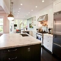 Cardea Building Co. - kitchens - two-tone, white, shaker, kitchen cabinets, espresso, stained, kitchen island, calcutta, gold, honed, marble...
