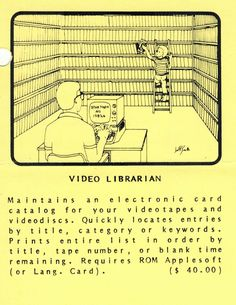 Flyer ad for Video Librarian program (1982). Telephone, Connection, Software, Hold On, Ads, Phone, Naruto Sad