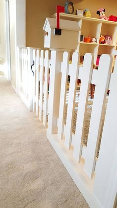 Baby Gate Playroom Picket Fence Room by SpeckCustomWoodwork