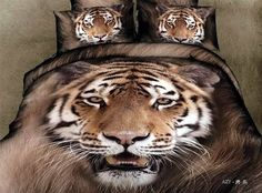 3d Tiger Bedding Sets for Full Queen King Size Bed,Pure Cotton Bedroom ...