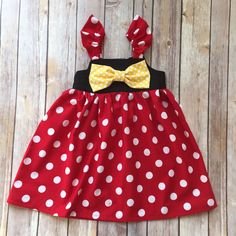 Minnie mouse kids dress A personal favorite from my Etsy shop https://www.etsy.com/listing/475557001/boutique-girls-minnie-mouse-bow-knot