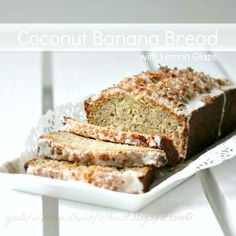 With a Grateful Prayer and a Thankful Heart: Coconut Banana Bread with Cambrie Coconut Desserts, Coconut Recipes, Pie Recipes, Sweet Recipes, Dessert Recipes, Recipies, Banana Bread Glaze, Coconut Banana Bread, Coconut Custard Pie