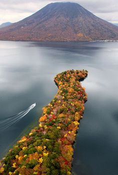 Autumn leaves at Chuzenjiko lake, Japan