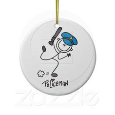 Basic Stick Figure Police Officer Christmas Ornament
