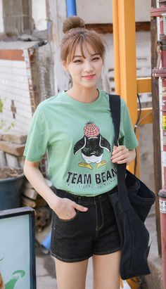 Fashiontroy  Hipster & indie short sleeves crew neck green penguin printed cotton blend T-shirt