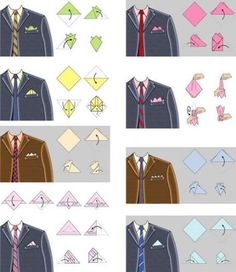 There are multiple ways to fold a pocket square. Make sure you pick the right st. - There are multiple ways to fold a pocket square. Make sure you pick the right style for your suite - Pocket Square Folds, Pocket Square Styles, Men's Pocket Squares, How To Pocket Square, Handkerchief Folding, Suit Fashion, Mens Fashion, Tie A Necktie, Fashion Infographic