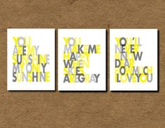 "You are my Sunshine Set of 3- Wall art print - 11x14"" gray and yellow - nursery art. $55.00, via Etsy."