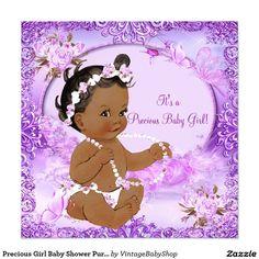 Precious Girl Baby Shower Purple Floral Ethnic Invitation