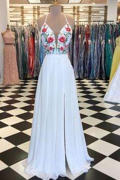 White v neck chiffon embroidery applique long prom dress, white evening dress