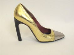 DRIES VAN NOTEN MIXED METALLIC EMBOSSED LEATHER CAP TOE PUMPS SZ.37 #DRIESVANNOTEN #PumpsClassics