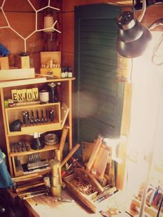 one of the workbenches...this one was my Father's first that he made back in the early 80s.