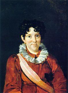 """Carlota Joaquina em 1817 por, Nicolas Taunay   """"Dona Leopoldina, uma de suas noras, que casou com Dom Pedro I, Imperador do Brasil, quando a viu pela primeira vez, achou-a tão feia que """"baixou os olhos como não querendo voltar a vê-la; as marcas da varíola, o corte de cabelo, cordões e mais cordões de pérolas e pedras preciosas enroladas em seus cabelos, pendendo de seus cachos gordurosos como cobras"""".  Ficou conhecida como A Megera de Queluz, pela sua personalidade forte e porque foi…"""