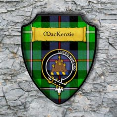 MacKenzie Shield Plaque with Scottish Clan Coat of Arms Badge on Clan Plaid Tartan Background Wall Art by YourCustomStuff on Etsy https://www.etsy.com/listing/552109202/mackenzie-shield-plaque-with-scottish