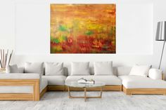 Windless October evening – XXL abstract landscape Dark Interiors, Metallic Colors, Abstract Styles, Acrylic Painting Canvas, Abstract Landscape, Abstract Art, Warm Colors, Lovers Art, Contemporary Art