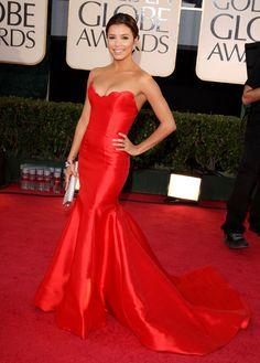 Eva Longoria en palabra de honor rojo vestido de Reem Acra en el Golden 2009 ...