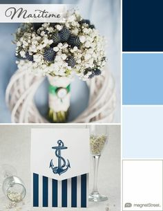 Navy, Breeze, Ice, and White Wedding Color Palette | Wedding Color Trends | MagnetStreet Weddings