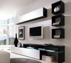 Cool 28 Elegant Modern Wall TV Cabinet Ideas For Living Room If you want to install a TV in the living room you should use the Wall TV Cabinet. Because in addition to adding to your beautiful living room. Living Room Built Ins, Living Room Wall Units, Living Room Tv Unit Designs, Ikea Living Room, Living Room Decor Cozy, Bedroom Tv Unit Design, Tv Unit Interior Design, Tv Wall Design, Floor Design