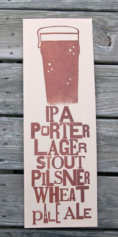 Beer Type Letterpress Poster