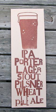 Beer Type Letterpress Poster / Wall Art by ilovenataliekay on Etsy, $12.00
