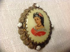 Lovely Limoges France Porcelain Cameo Pendant with White Faceted Glass Rhinestones by SweetBettysBling on Etsy