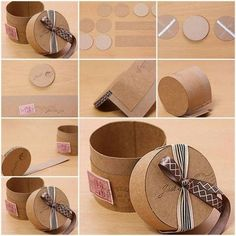 Fabulous DIY Empty Cardboard Box Which Needs To Be Tried Cut the cardboard into circle shapes. Then attach other cardboard papers on them to give it the shape of a box. Tie a ribbon on the lid of the box and your storage box is ready to use. Cardboard Gift Boxes, Cardboard Paper, Cardboard Crafts, Diy Paper, Cardboard Castle, Paper Gifts, Craft Gifts, Diy Gifts, Handmade Gifts