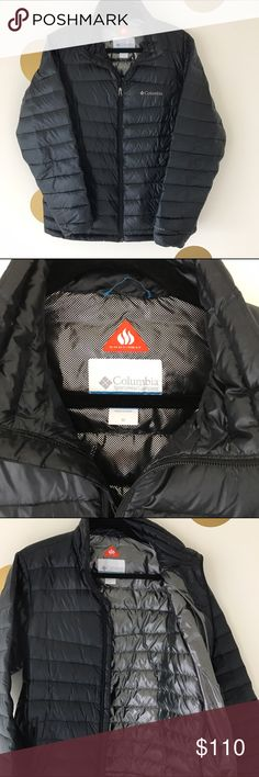Columbia 860TD Turbodown Down Jacket Men's platinum turbodown jacket by Columbia! Featuring Omni-Heat reflective lining and goose down fill. Water resistant shell, black with a sheen. EXTREMELY WARM! Gently used for half a winter. Runs true to size, just a tad too snug on me! Columbia Jackets & Coats Puffers
