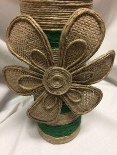 Items similar to Decorated bottles on Etsy Jute Flowers, Cloth Flowers, Bottle Art, Bottle Crafts, Bottle Lamps, Painted Wine Bottles, Decorated Bottles, Twine Crafts, Decoupage Art