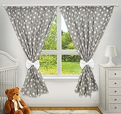 LUXURY DECORATIVE CURTAINS FOR BABY ROOM MATCHING WITH OUR NURSERY BEDDING SETS (Big stars grey)