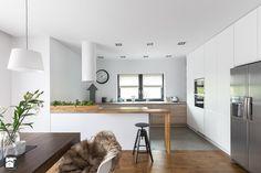 Dom w Bochni - Duża otwarta kuchnia w kształcie litery g, styl skandynawski - zdjęcie od STABRAWA.PL - pozytywny design