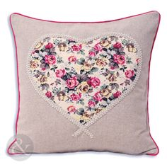 Love Heart Piped Cushion Cover – Floral Applique Grey Cerise Pink Sofa Cushion