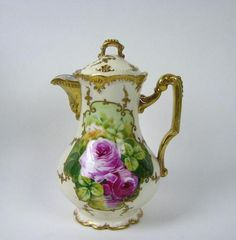 Image detail for -... French Limoges Porcelain Hand Painted Chocolate Pot Roses | eBay