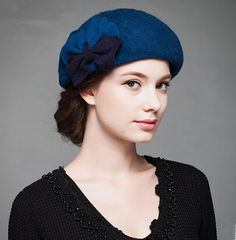 dc9bf4c0e7e Double bow beret hat for women elegance winter wool hats