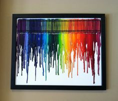 CRAYOLA CRAYON ART.  Layout crayons (touching evenly).  Hot glue them onto canvas (attach canvas onto poster board for sturdiness).  Heat the crayons with a blow dryer from bottom up while leaning backwards.   TAKE NOTE:  Make sure you use CRAYOLA crayons OR the colors may be dull, and the wax watery.  Works and looks best when laying out the colors; in rainbow order, like the picture!