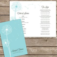 "Beautiful Dandelion Funeral or Memorial Program - Bulletin - Order of Service, 8.5"" x 11"" or A4, 8.5"" x 11"" or A4 on Etsy, $30.00"