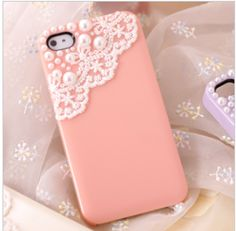 cute pearl lace case for iphone 4/4s-pink
