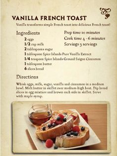 "Vanilla French Toast - this was delicious!! It gets a ""love""!"