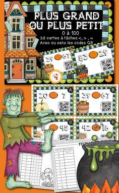 26 cartes à tâches, sur le thème de l'automne/Halloween, pour travailler l'ordre des nombres avec des équations de type : plus grand que, plus petit que, égal à pour les nombres de 0 à 100. $