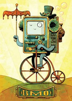 I love this BMO fanart! And that it is Steampunk, makes it even better! Marceline, Cartoon Network, Geeks, Abenteuerzeit Mit Finn Und Jake, Art Steampunk, Land Of Ooo, Finn The Human, Jake The Dogs, Bravest Warriors