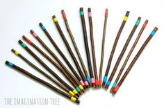 DIY Colored Sticks für kreatives Spielen - The Imagination Tree - . Creative Area, Creative Play, Aboriginal Education, Diy Educational Toys, Maths Area, Imagination Tree, Classroom Supplies, Creative Pictures, Home Learning
