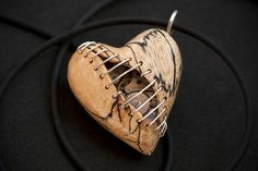 Stitched Clockwork Heart Pendant by Artype on Etsy, $69.00