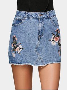 Floral Embroidered Denim A Line Skirt - DENIM BLUE 34