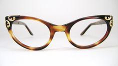 be0a6b27b1 Vintage Womens 50s Tortoise Cat Eye Eyeglasses Harlequin Frame NOS